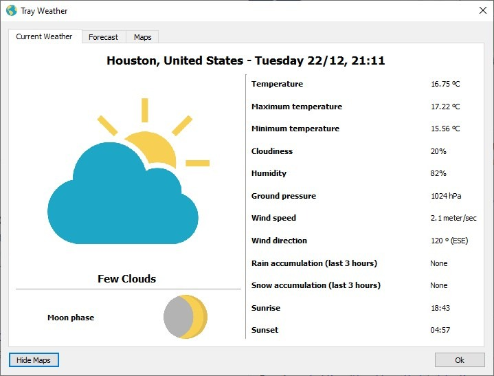 Tray Weather interface