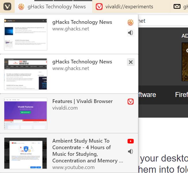 vivaldi tab stacks interface