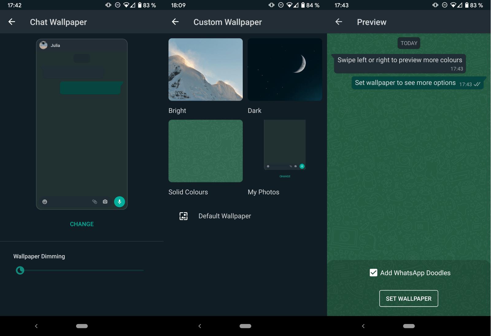 whatsapp cambiar fondo de pantalla chat individualmente