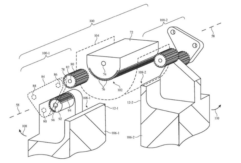 La ilustración de la solicitud de patente de Apple muestra los engranajes que Apple podría usar para permitir que su iPhone plegable se mueva hacia adentro o hacia afuera. Según los informes, Apple elegirá uno de los dos diseños que se están probando para su iPhone plegable