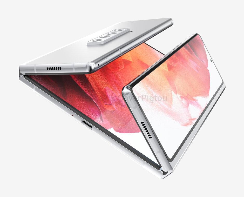 Render del Samsung Galaxy Z Fold 3 Dual-Fold - Samsung Galaxy Z Fold 3 renderiza la fuga