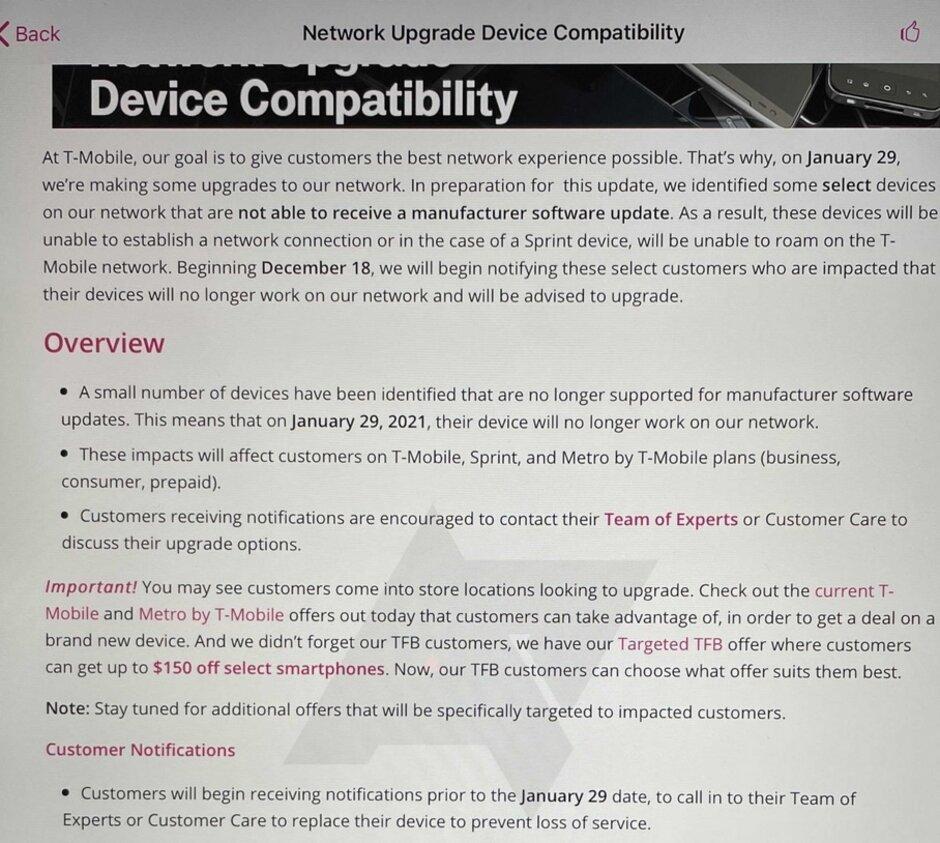 Documento interno para filtraciones de representantes de T-Mobile: estos teléfonos dejarán de funcionar en T-Mobile el próximo mes