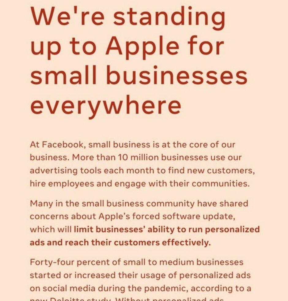Facebook publica un anuncio de página completa en varios periódicos de las grandes ciudades atacando el impuesto de Apple del 30% - Facebook está enojado con el nuevo plan de Apple que requiere que los usuarios opten por recibir anuncios dirigidos