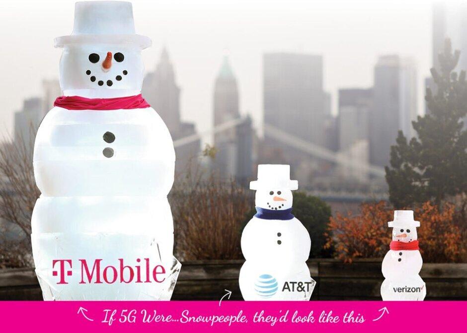 T-Mobile utiliza comparaciones físicas, en este caso con Snowmen, para mostrar cuánto mayor es su cobertura 5G en comparación con AT&T y Verizon. Únase a la nueva campaña de T-Mobile y ayude a demostrar su ventaja en la cobertura 5G sobre los datos de Verizon, AT&T -id =