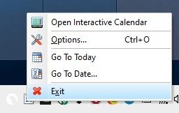 Menú de bandeja de calendario interactivo