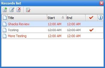 Lista de registros de calendario interactivo