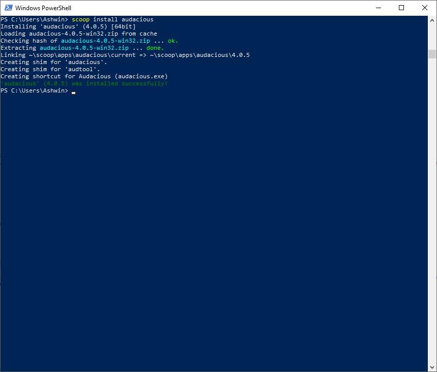 Scoop instalar un programa