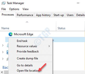 Microsoft Edge Expand Browser Broker Haga clic con el botón derecho en Abrir ubicación de archivo
