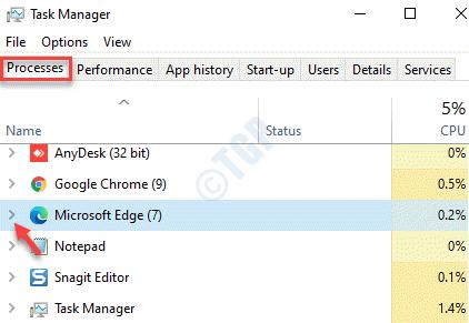 El administrador de tareas procesa Microsoft Edge Expand