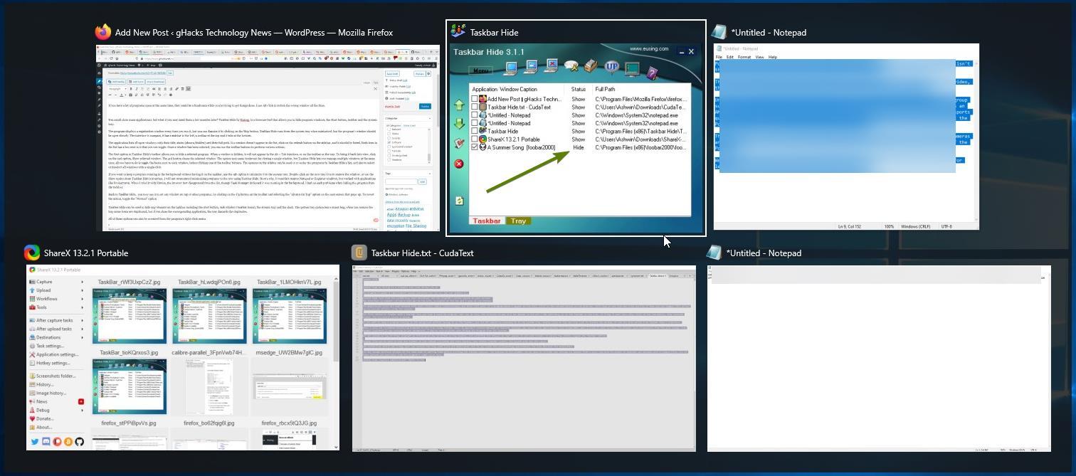 Ocultar barra de tareas: oculta las ventanas del programa