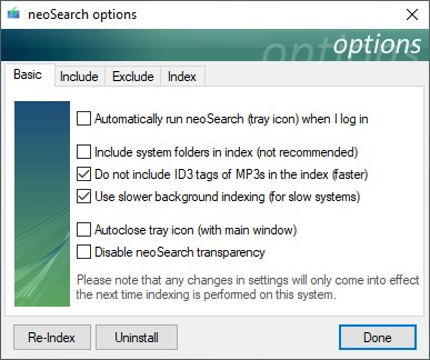 Opciones básicas de neoSearch