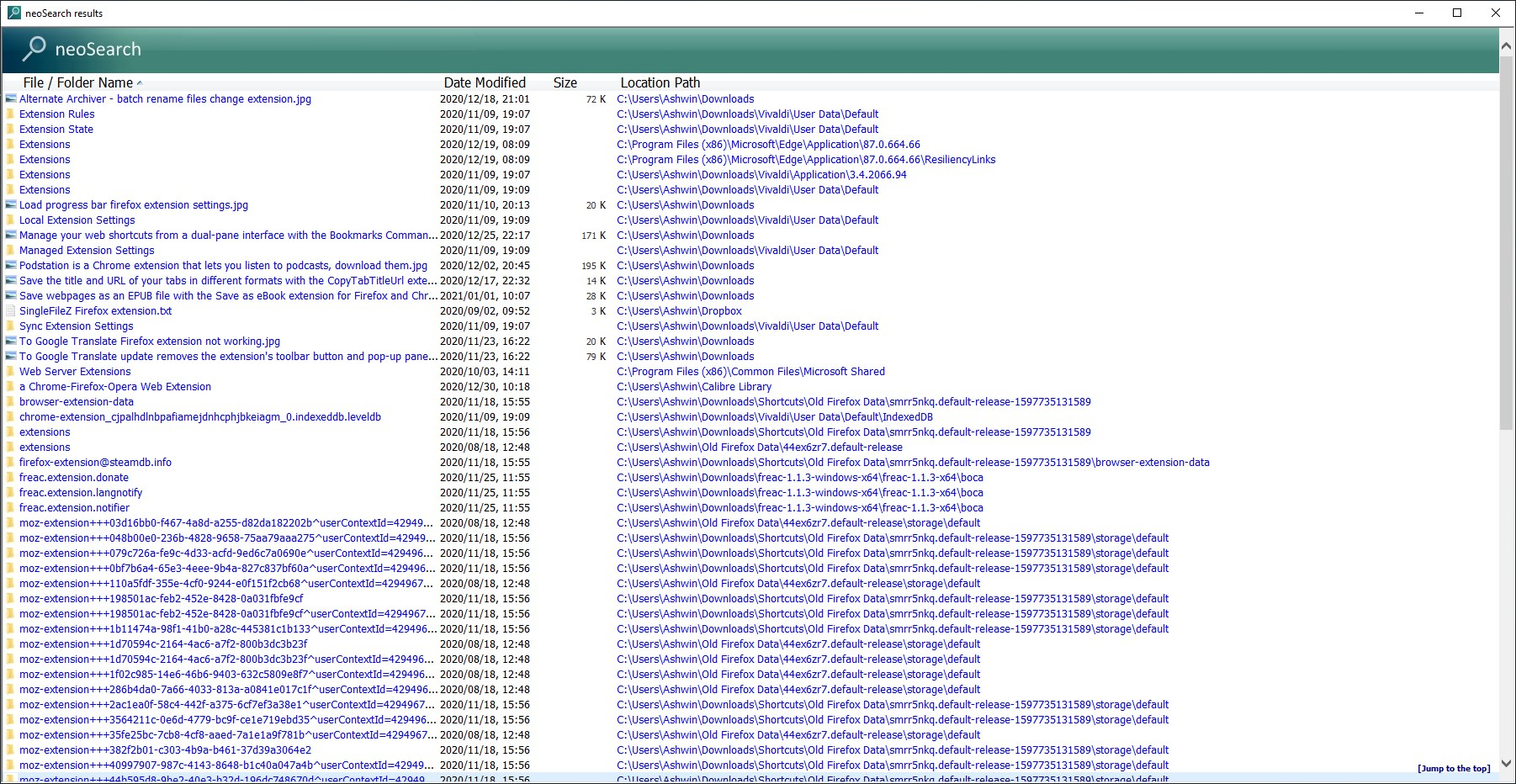 Vista de resultados de neoSearch