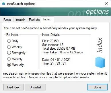 Velocidad de procesamiento predeterminada del índice neoSearch