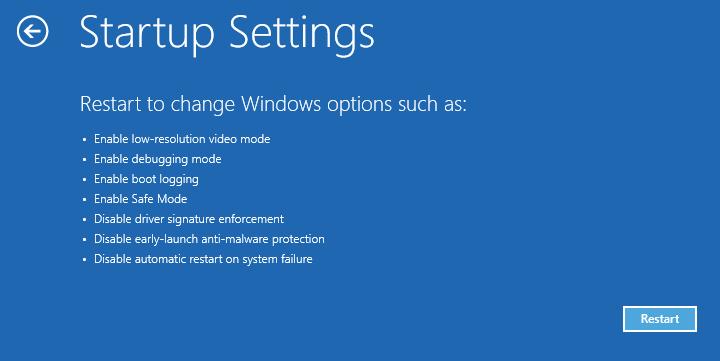 Configuración de inicio Reiniciar Reparación de inicio