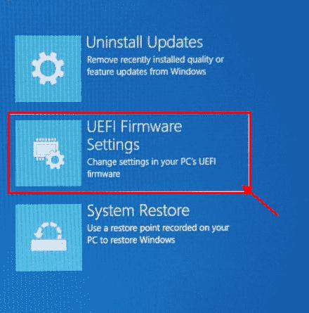 Firmware mínimo de Uefi