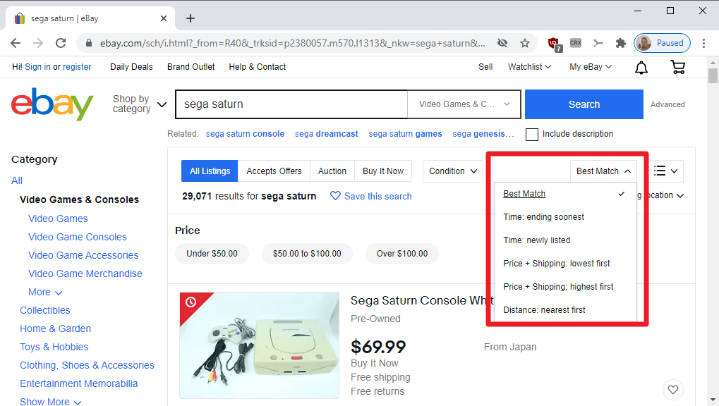resultados de clasificación de eBay