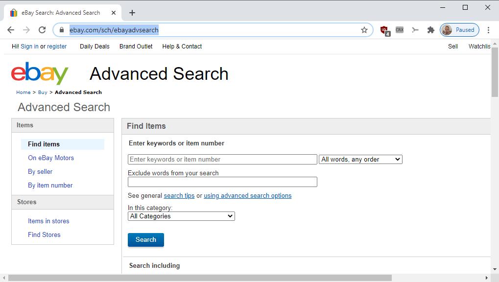 búsqueda avanzada de ebay