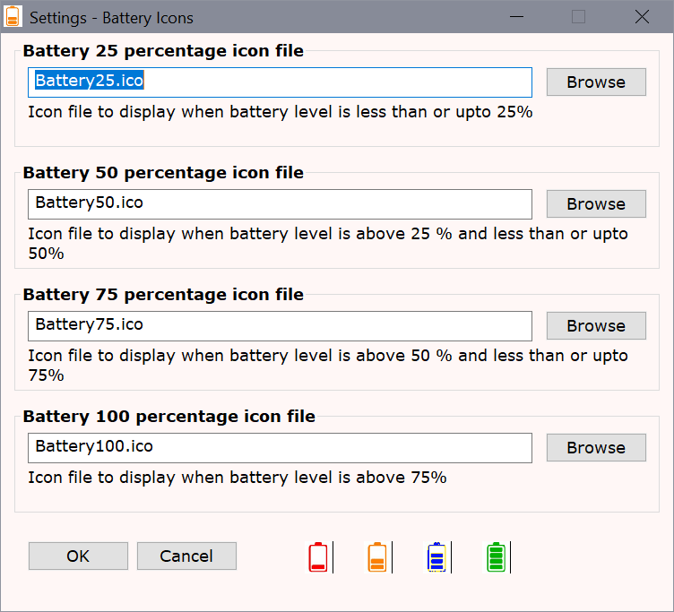 batería iconos windows