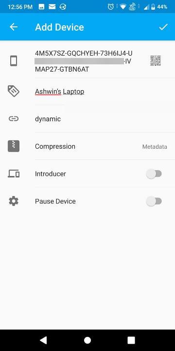 sincronización de la aplicación de Android agregar dispositivo
