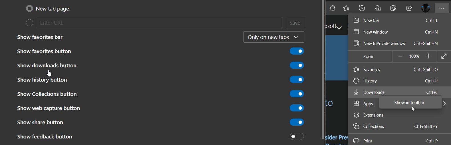 Botón de descargas de Microsoft Edge