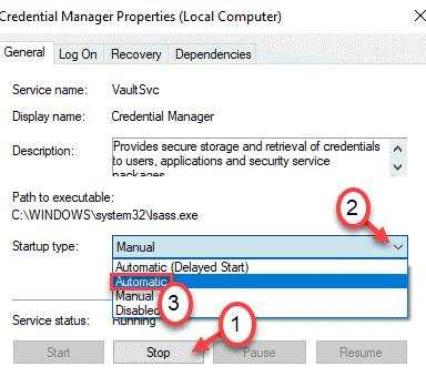 Detención automática de Credential Manager Min