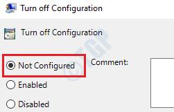 3 Desactivar la configuración no configurada