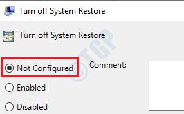 5 Desactivar Restaurar sistema no configurado