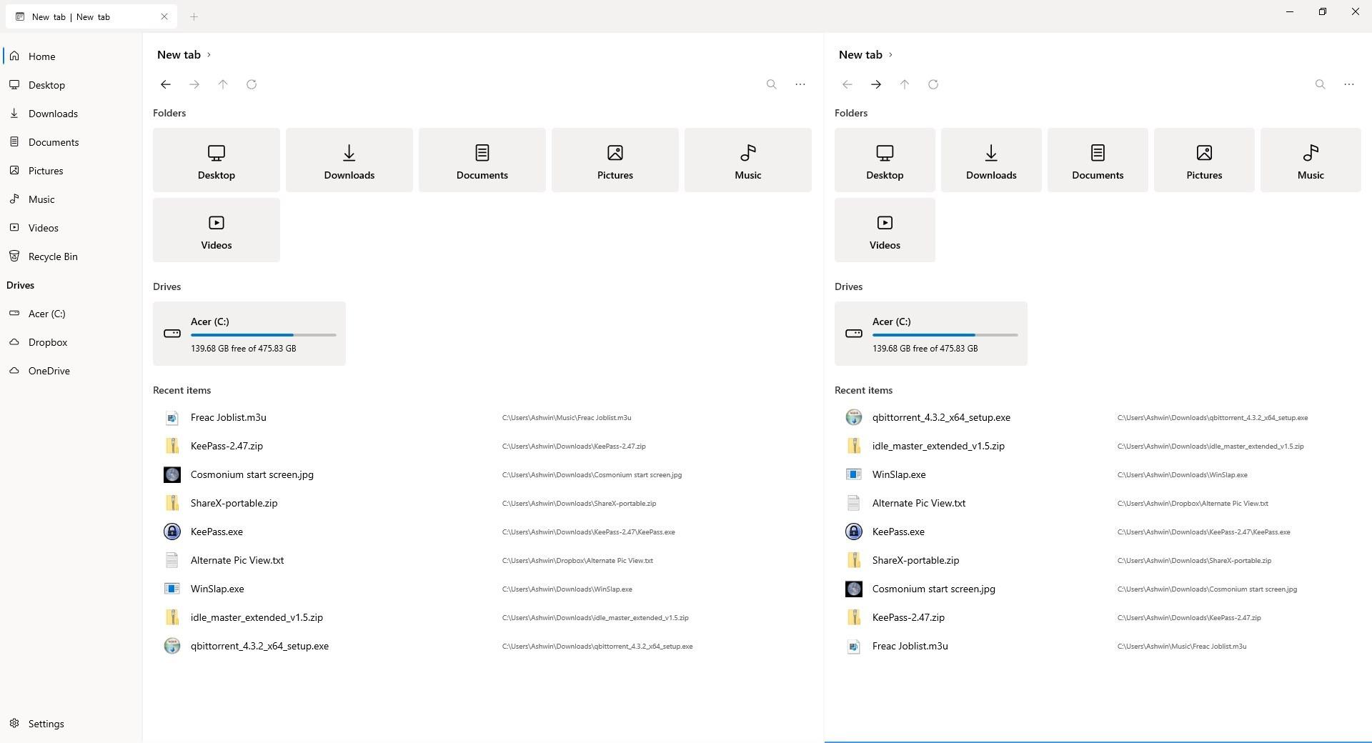 Archivos Vista de panel dual