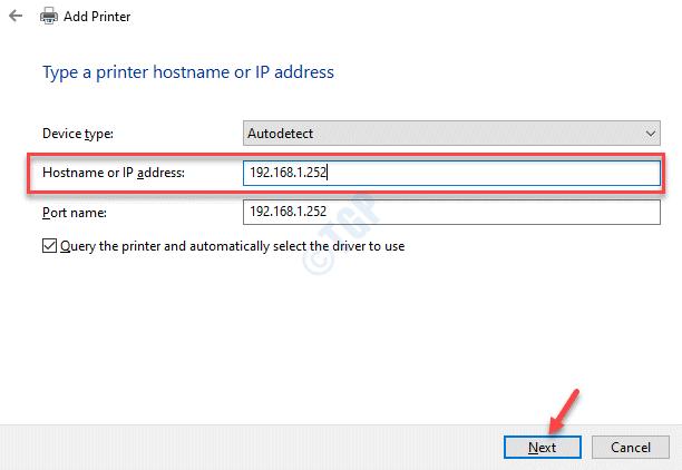 Agregar un nombre de host de impresora o una dirección IP a continuación