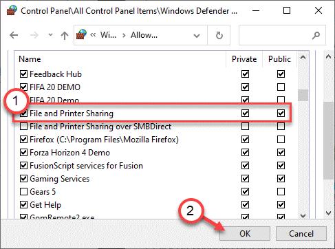 Mínimo de uso compartido de archivos e impresoras