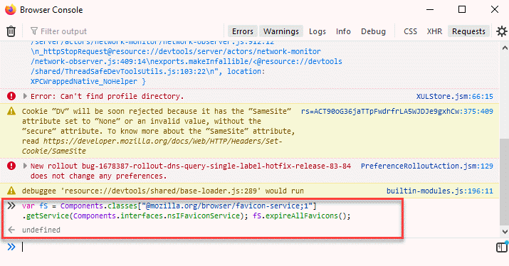 Consola del navegador Pegar código Ingresar