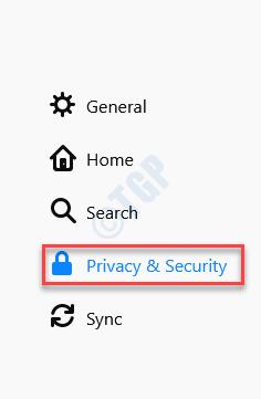 Menú de opciones Privacidad y seguridad del lado izquierdo
