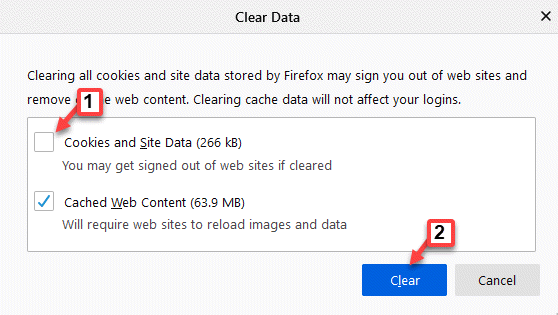 Borrar cookies de datos y datos del sitio Desmarque Borrar