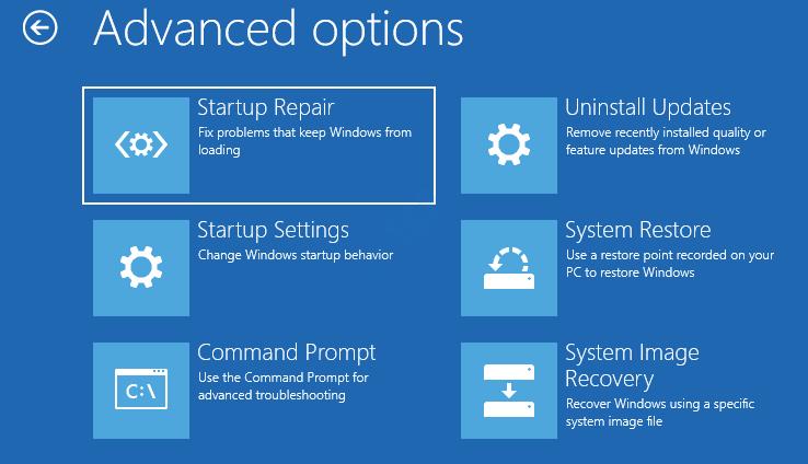 Opciones avanzadas Reparación de inicio Configuración de inicio Símbolo del sistema