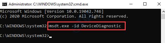 Símbolo del sistema (admin) Ejecute el comando para abrir el solucionador de problemas de hardware y dispositivos