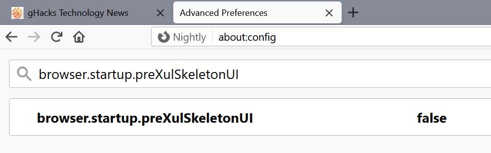 Firefox deshabilita la interfaz de usuario del esqueleto