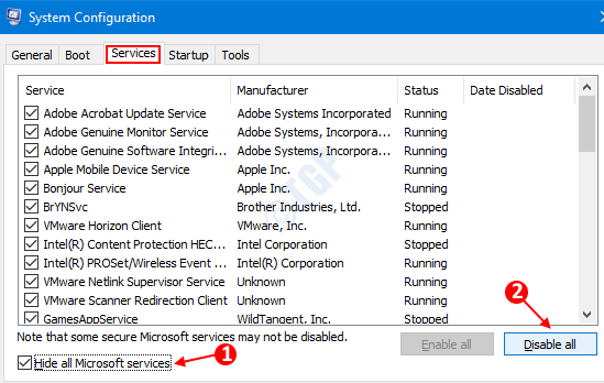 Ficha Servicios de configuración del sistema