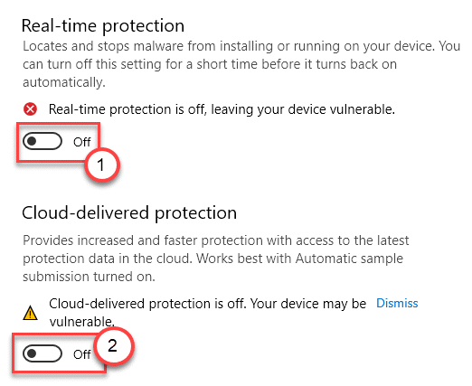 Tiempo real desactivado Protección en la nube desactivado Mín.