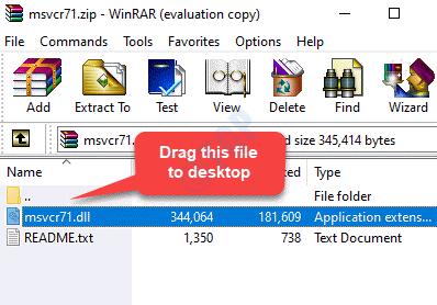 Archivo zip Arrastre el archivo Msvcr71.dll al escritorio