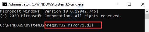 Símbolo del sistema (admin) Ejecute el comando para registrar el archivo Msvcr71.dll Ingrese