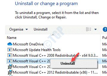 Programas y características Desinstalar o cambiar un programa Paquete redistribuible de Microsoft Visual C ++ 2010 (x86) Desinstalar con el botón derecho del ratón