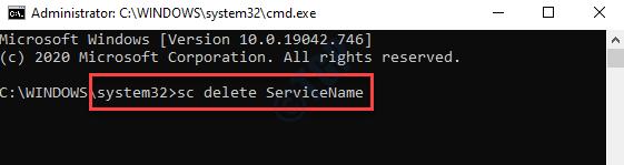 Símbolo del sistema (admin) Ejecute el comando para eliminar el servicio con el nombre del servicio Ingrese