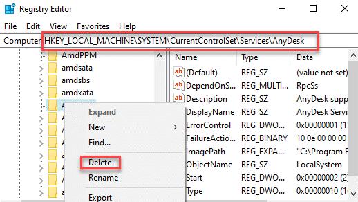 Editor del registro Navegue a la ruta de servicios Haga clic con el botón derecho en el servicio Eliminar