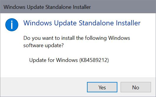 instalación independiente de Windows Update