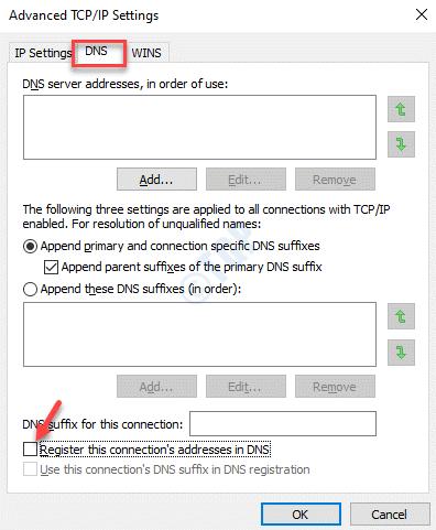 Configuración avanzada de Tcp Ip Dns Registrar esta dirección de conexiones en Dns Desmarque