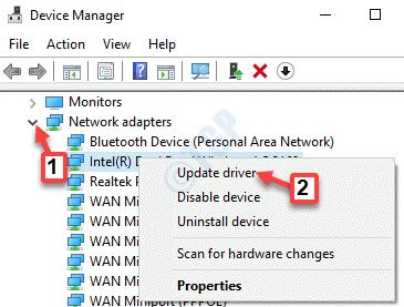 Adaptadores de red del Administrador de dispositivos Expandir el controlador de actualización