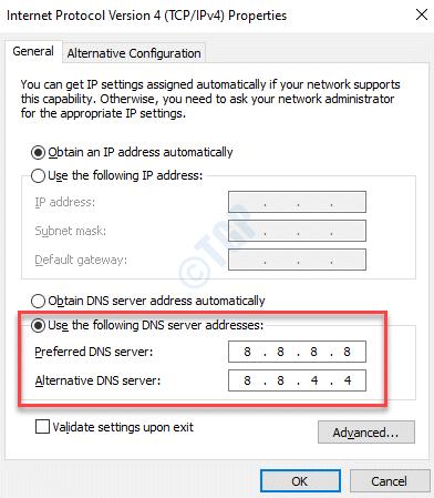 Propiedades del protocolo de Internet Uso general Las siguientes direcciones de servidor DNS Agregar Google Dns