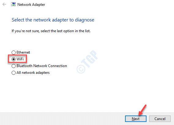 Solucionador de problemas del adaptador de red Seleccione el adaptador de red para diagnosticar Wifi Siguiente