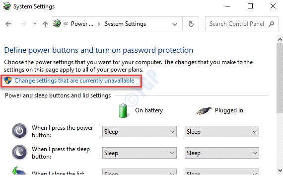 Configuración del sistema Cambiar configuraciones que actualmente no están disponibles