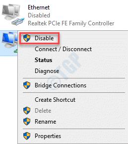 Conexiones de red Adaptador de red Clic derecho Desactivar